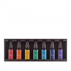 coffret parfums 7 chakras, racine, sacre, solaire, coeur, gorge, 3e oeil, coronal parfum eveil